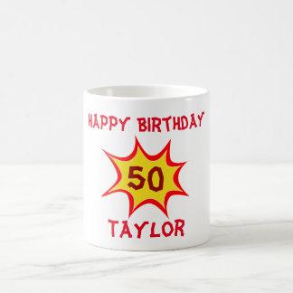 50th Birthday Superhero Theme Coffee Mug