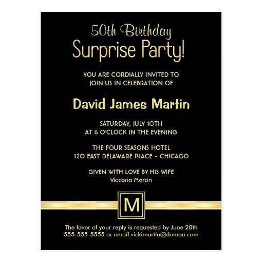 50th Birthday Surprise Party - Sample Invitations Postcard