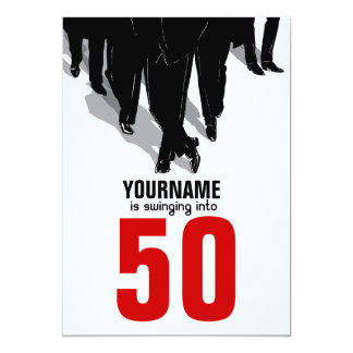 50th Birthday Swingers Rat Pack Party 13 Cm X 18 Cm Invitation Card