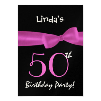 50th Birthday Template Magenta Pink Bow W422 Custom Announcement