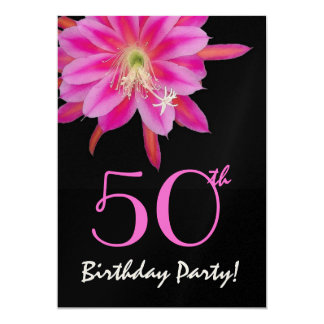 50th Birthday Template Pink Flower Invite