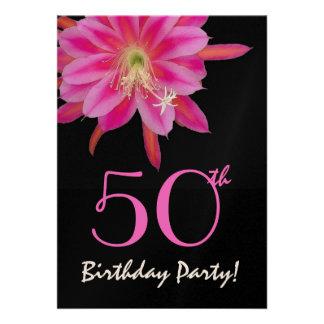 50th Birthday Template Pink Flower Invite
