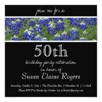 50th Birthday Texas Bluebonnets Floral Invitation