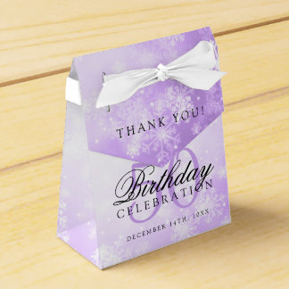 50th Birthday Thank You Purple Winter Wonderland Favour Box