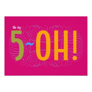 50th Birthday - the Big 5-OH! 13 Cm X 18 Cm Invitation Card