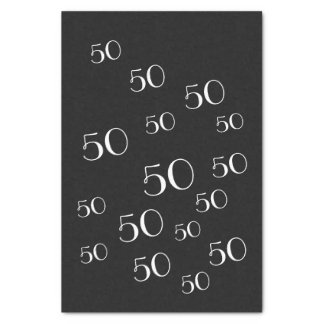 50th Birthday Tissue Paper Black and White