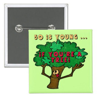 50th Birthday Tree Button