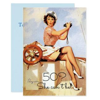 50th Birthday, Vintage, Sexy Pin Up Girl Sailing, 13 Cm X 18 Cm Invitation Card
