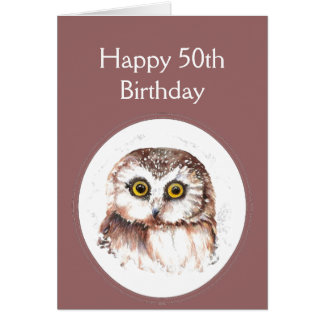 50th  Birthday Who Loves You, Cute Owl Humour Greeting Card