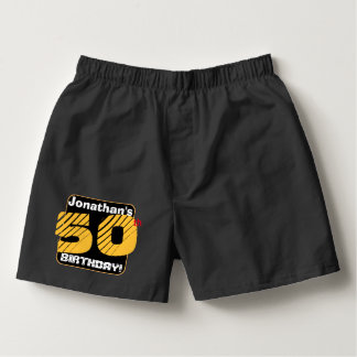 50th Birthday with Custom Name Striped Number A25 Boxers