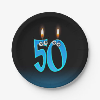 50th Birthday with lit candle numbers Paper Plate