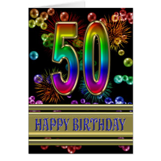 50th Birthday with rainbow bubbles and fireworks Greeting Card