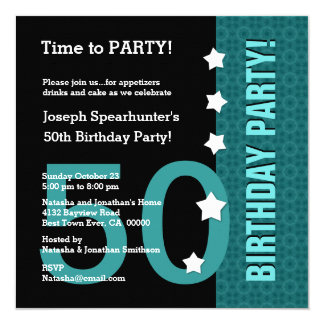 50th Birthday with Stars Funny TEAL BLACK A50A 5.25x5.25 Square Paper Invitation Card
