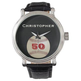 50th Birthday Wrist Watch, Personalized, Baseball Watch