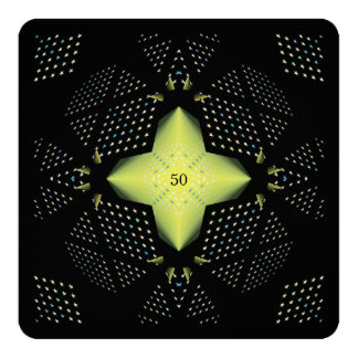 50th Birthday Yellow Star 13 Cm X 13 Cm Square Invitation Card