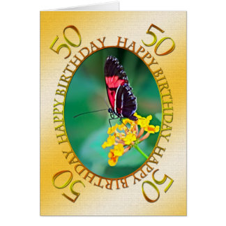 50th Butterfly and flower birthday card