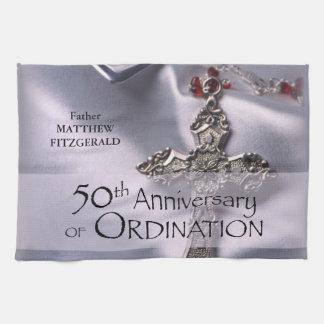 50th Custom Name Ordination Anniversary Chalice Tea Towel