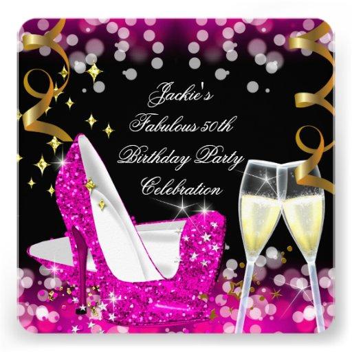 50th Fabulous Hot Pink Glitter High Heel Birthday Invitations