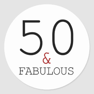 50th & Fabulous  Typography 50th Birthday Classic Round Sticker