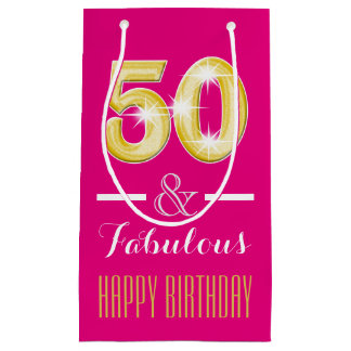 50th Fiftieth birthday men women   Small Small Gift Bag