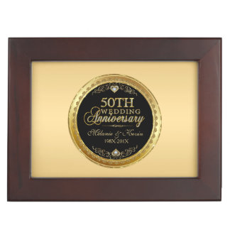 50th Gold & Black Wedding Anniversary Keepsake Boxes