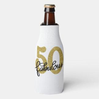 50th Gold Black White | Chic 50 Fabulous Keepsake Bottle Cooler