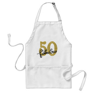 50th Gold Black White   Elegant 50 Fabulous Standard Apron