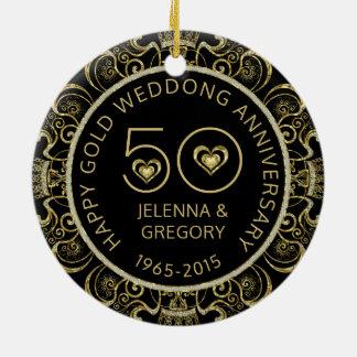 50th Gold Wedding Anniversary Black & Gold Glitter Round Ceramic Decoration