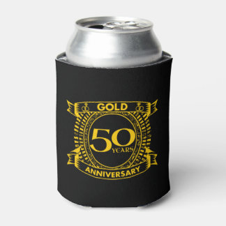50th Gold Wedding Anniversary Can Cooler