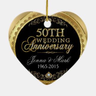 50th Gold Wedding Anniversary Ceramic Ornament