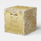 50th Gold Wedding Anniversary Custom Thank You Favour Box