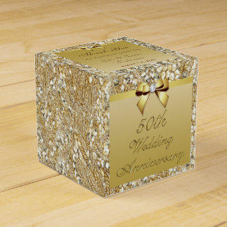 50th Gold Wedding Anniversary Custom Thank You Party Favour Box