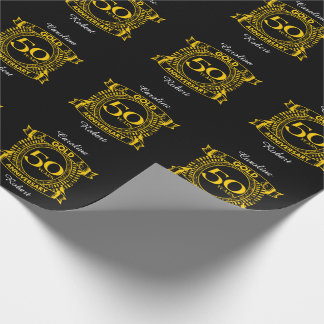 50th Gold Wedding Anniversary Wrapping Paper