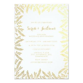 50th Golden Anniversary White Gold Foil Leaves 11 Cm X 16 Cm Invitation Card