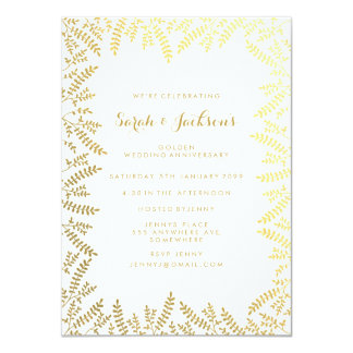 50th Golden Anniversary White Gold Foil Leaves 11 Cm X 16 Cm Invitation Card