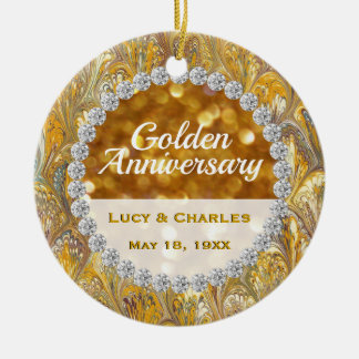 50th Golden Wedding Anniversary Christmas Keepsake Ceramic Ornament