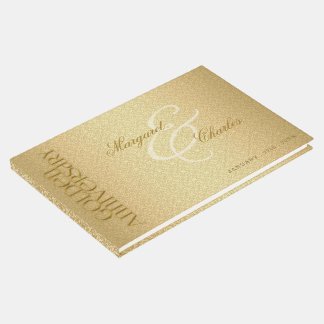 50th Golden Wedding Anniversary Damask Photo Guest Book