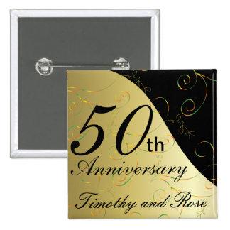 50th Golden Wedding Anniversary | DIY Name 15 Cm Square Badge