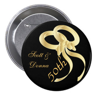 50th Golden Wedding Anniversary | DIY Text 7.5 Cm Round Badge
