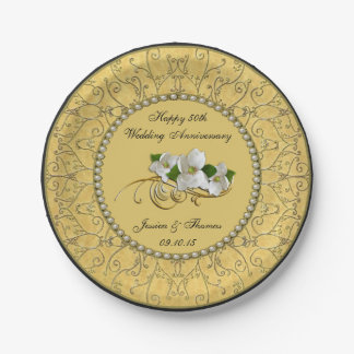 50th Golden Wedding Anniversary Paper Plate 7 Inch Paper Plate