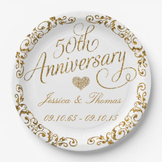 50th Golden Wedding Anniversary Paper Plate 9 Inch Paper Plate