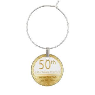 50th Golden Wedding Anniversary | Personalize Wine Charm