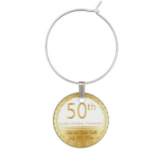 50th Golden Wedding Anniversary | Personalize Wine Glass Charms