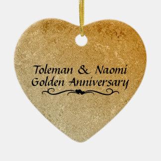 50th Golden Wedding Anniversary | Personalized Ceramic Ornament