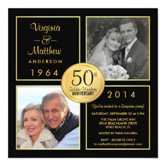 50th Golden Wedding Anniversary Surprise Party 13 Cm X 13 Cm Square Invitation Card