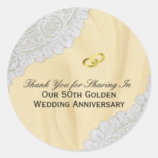 50th Golden Wedding Anniversary Thank You Classic Round Sticker
