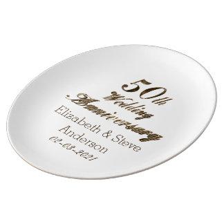 50th Golden Wedding Anniversary Typography Elegant Plate