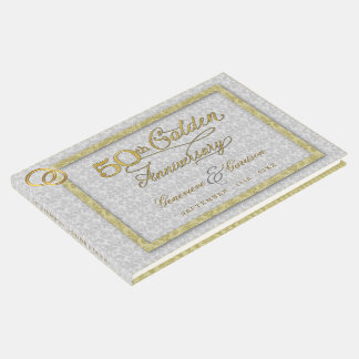 50th Golden Wedding Anniversary with Silver Photo Guest Book