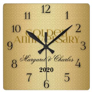 50th Golden Wedding Annivsersary Custom Square Wall Clock