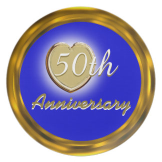 50th Golden Wedding Gold & Blue Anniversary Plate